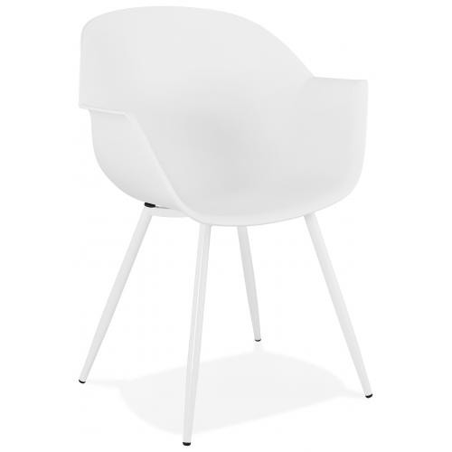 3S. x Home - Fauteuil Design Blanc Accoudoirs Arrondi Piétement Blanc BEAR - Le salon