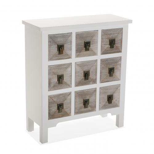 3S. x Home - Commode Blanche 9 Tiroirs Bois Clair SOGEN - Commode