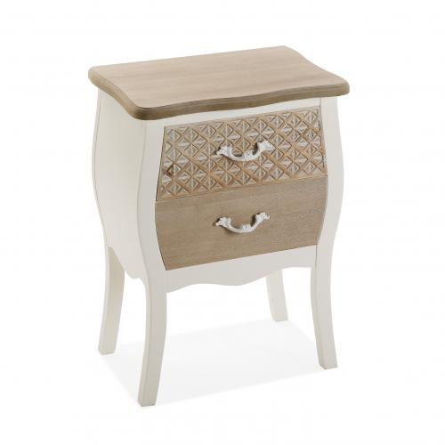 3S. x Home - Table de Chevet Blanche 2 Tiroirs Marron Clair GOMIS - Table de chevet