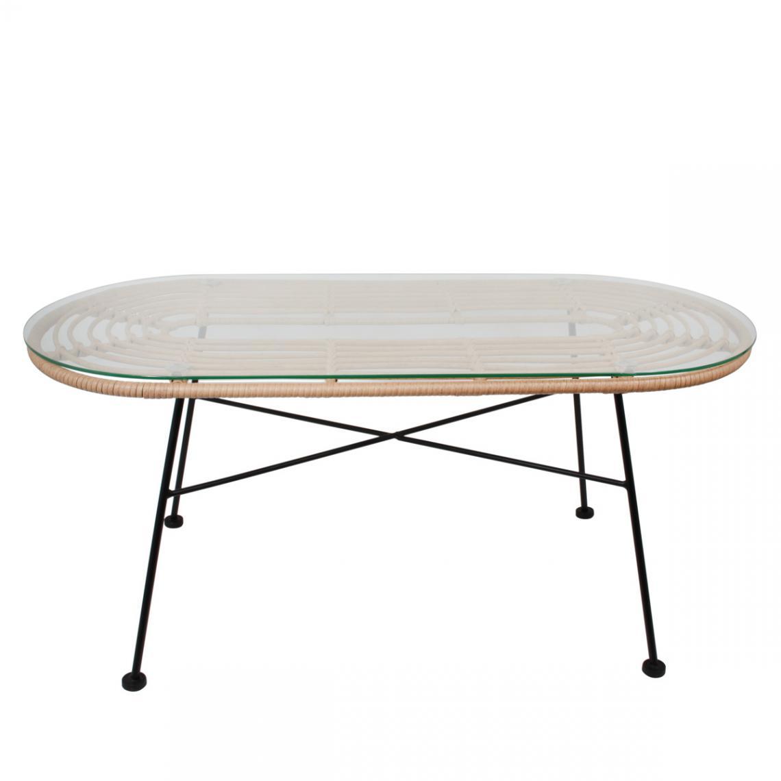 Table Basse Ovale En Verre Et Rotin Et Pietement Metal Noir Slune