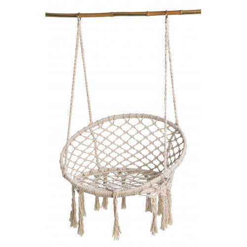 Chaise Suspendue en Macramé Beige 80x60x110 cm COCO
