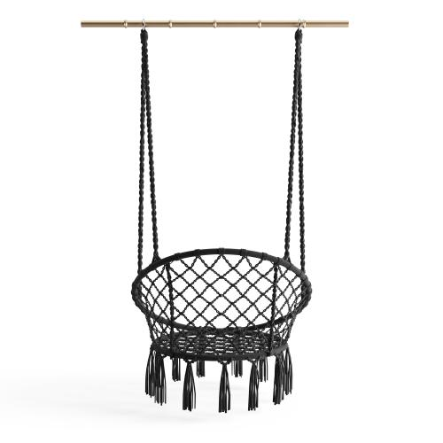 3S. x Home - Chaise Suspendue en Macramé Noir 80x60x110 cm COCO - Collection ethnique meuble deco