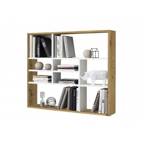 3S. x Home - Etagère Murale 9 Cases Chêne Marron et Blanc DAILY - Le salon