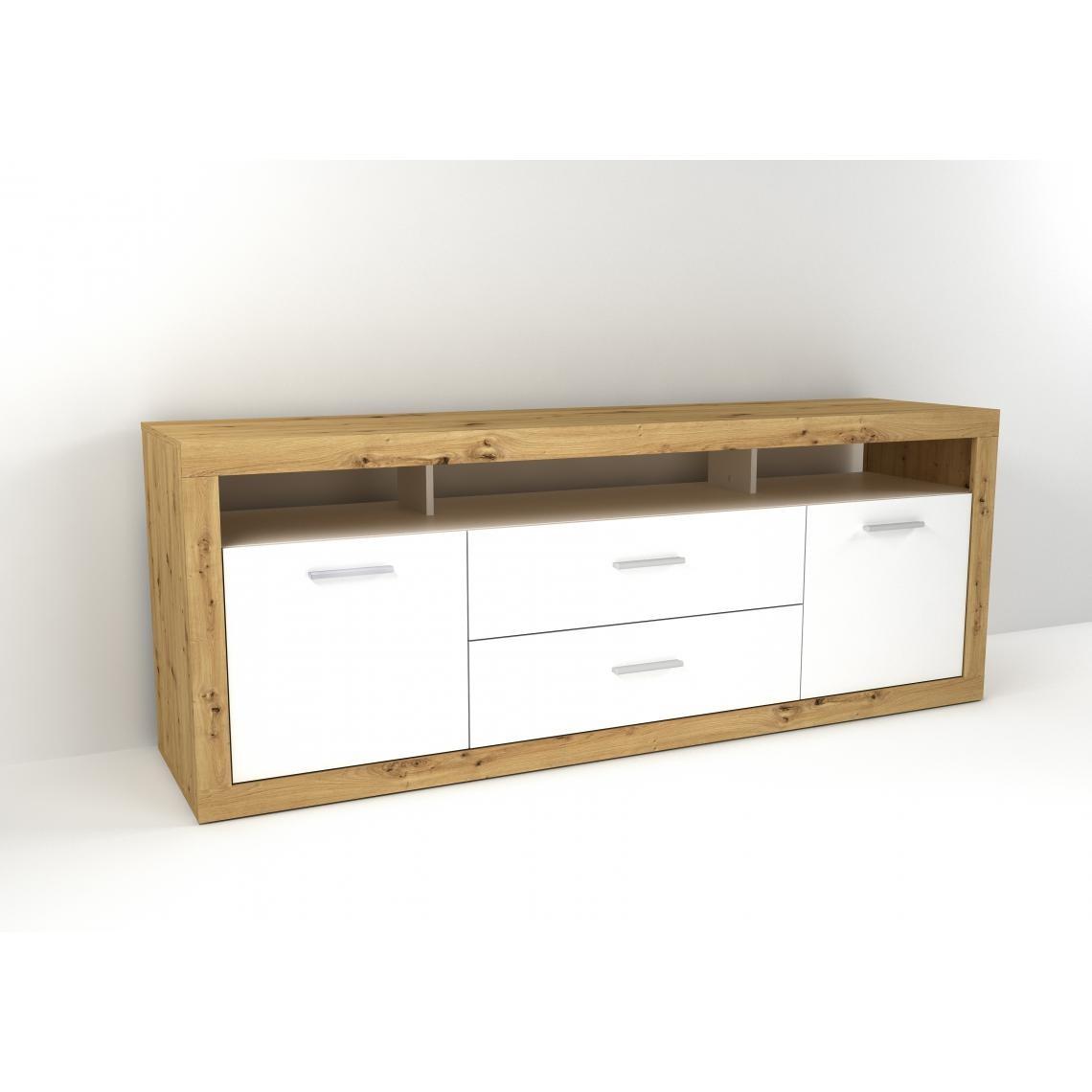 meuble tv scandinave bois clair et blanc fiola