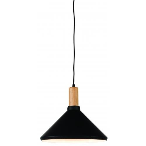 It s About Romi - Suspension en Fer Noir et Bois Naturel MELBOURNE - Luminaire