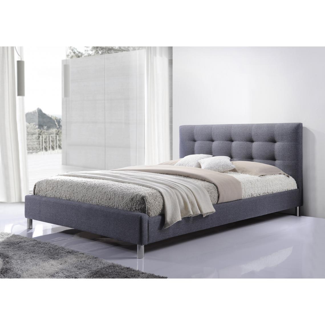 Porte En Tete De Lit lit gris tissu avec tête de lit capitonné 160 nala 1 avis plus de détails