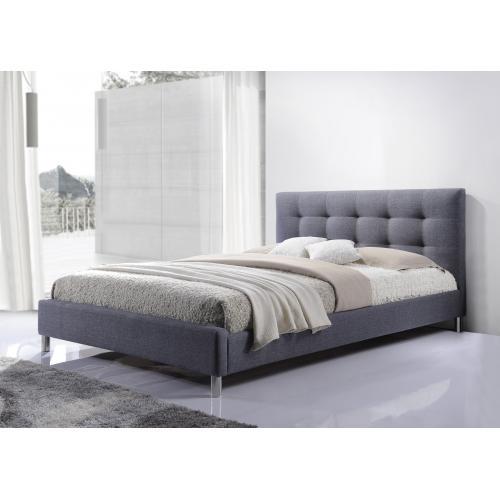 3suisses lit gris tissu avec tete de lit capitonne 160 nala chambre adulte