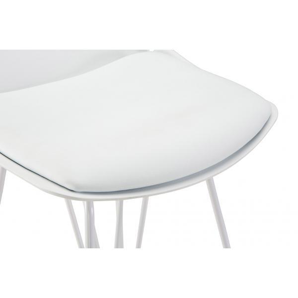 Chaise de bar Simili Cuir et Metal Blanc NUZE