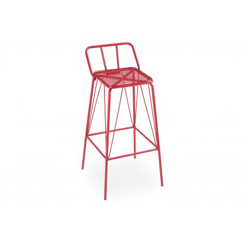 3S. x Home - Lot de 4 tabourets de bar Métal Rouge SPRING - Meuble & Déco