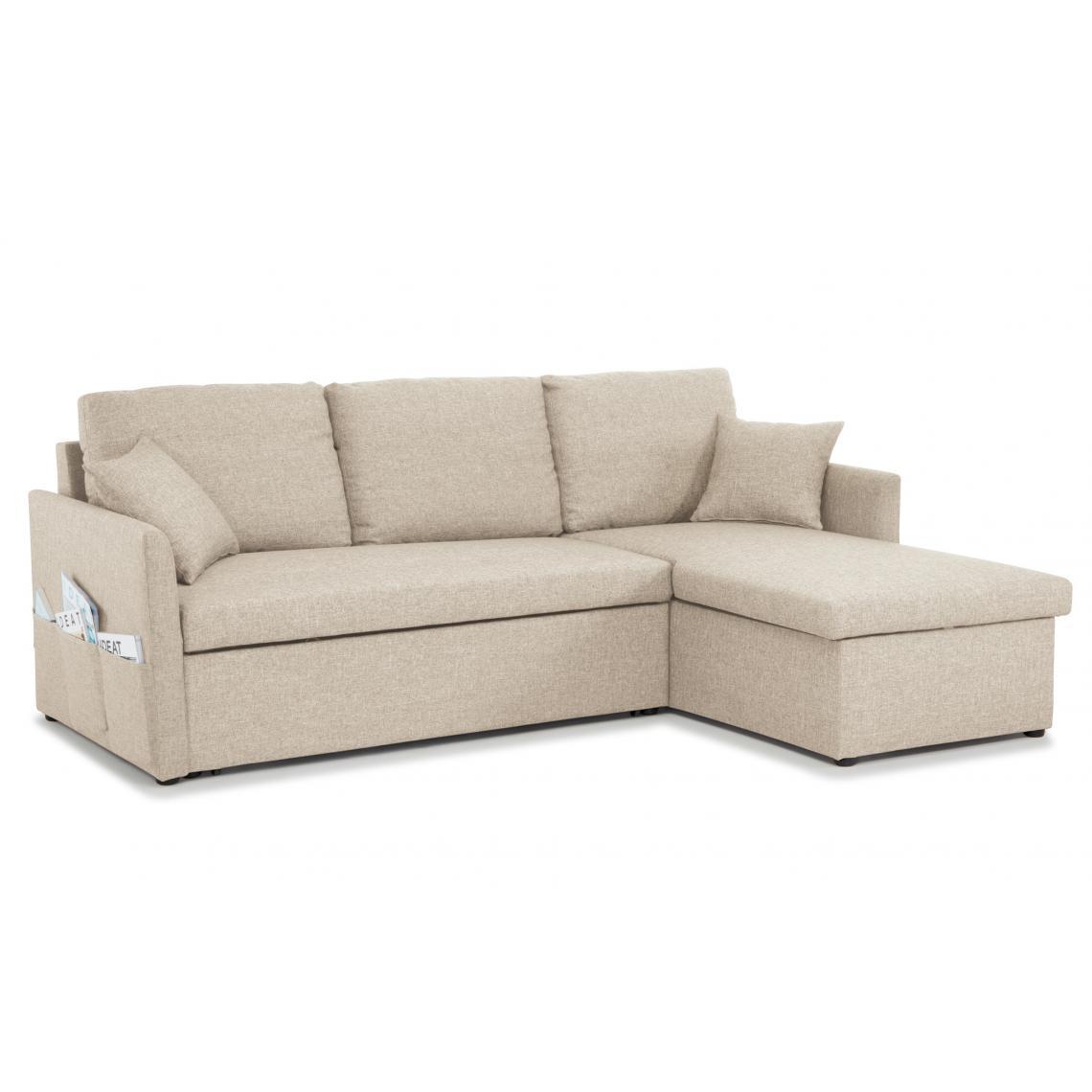 Canapé d'angle Réversible et Convertible Lin Beige VERTERO ...
