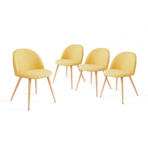 3S. x Home - Lot de 4 chaises Moutarde CLAIRETTE - Chaise