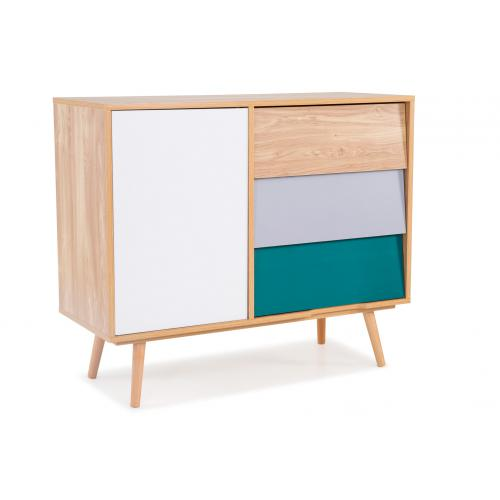 3S. x Home - Buffet Pin 1 porte 3 tiroirs Multicolore STEPPE - Commode