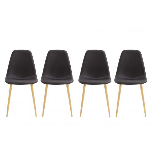 3S. x Home - Lot de 4 chaises Noir DORDJI - Chaise
