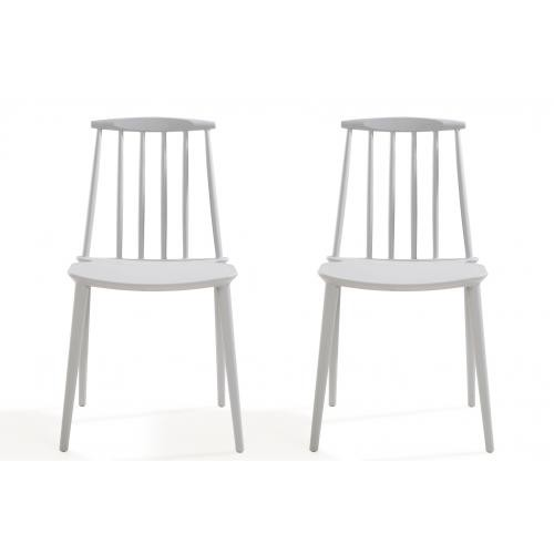 3S. x Home - Lot de 2 chaises Windsor Gris REIGN - Chaise