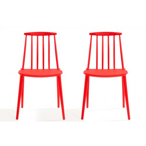 3S. x Home - Lot de 2 chaises Windsor Rouge REIGN - Chaise
