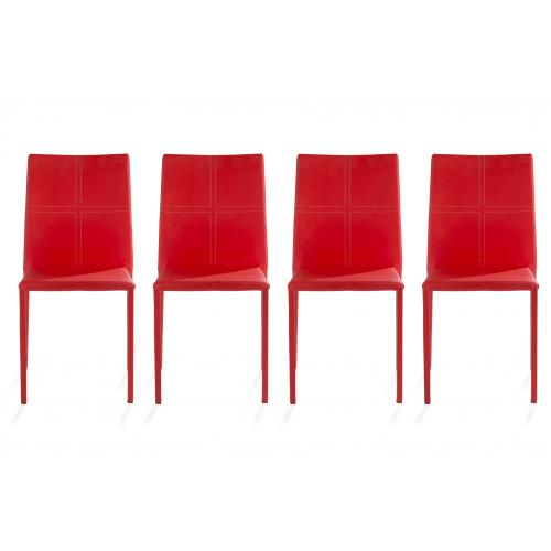3S. x Home - Lot de 4 chaises Simili Cuir Rouge SMOUZ - Chaise