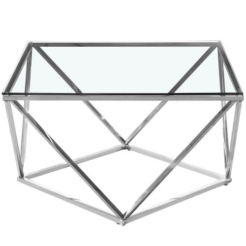 3S. x Home - Table basse en Verre Transparent et pieds Argent ETHAN - Table basse