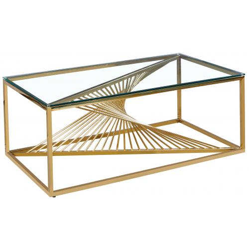 3S. x Home - Table basse en Verre Transparent et Pieds Or CLESSY - Table basse