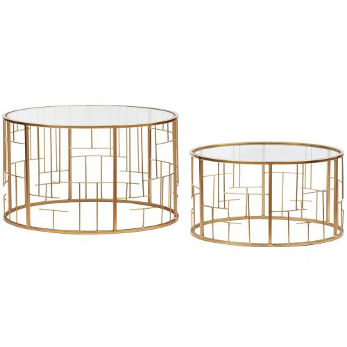 3S. x Home - Lot de 2 Tables basses Transparent et pieds Or NIDA - Table basse