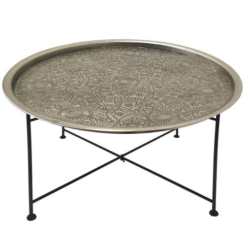 3S. x Home - Table basse ronde Nickel et Noir SARONG - Table basse