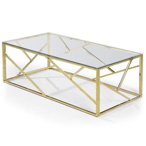 3S. x Home - Table basse en Verre Transparent et pieds Or ANDREW - Table basse