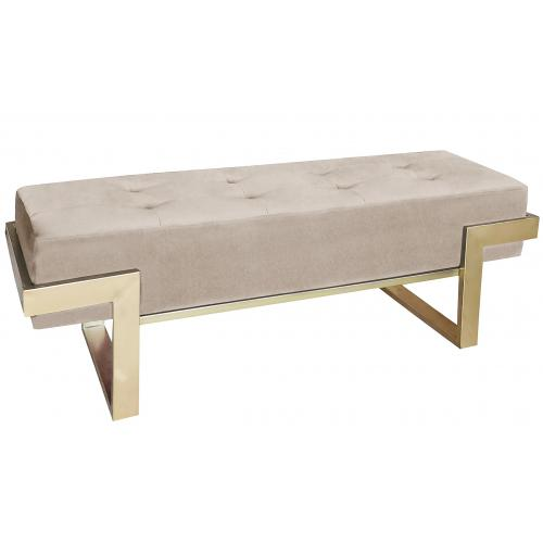 3S. x Home - Banquette Velours Taupe Pieds Or LEMPY - Banc