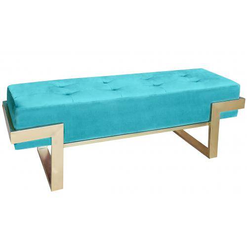 3S. x Home - Banquette Istanbul Velours Menthe Pieds Or - Banc
