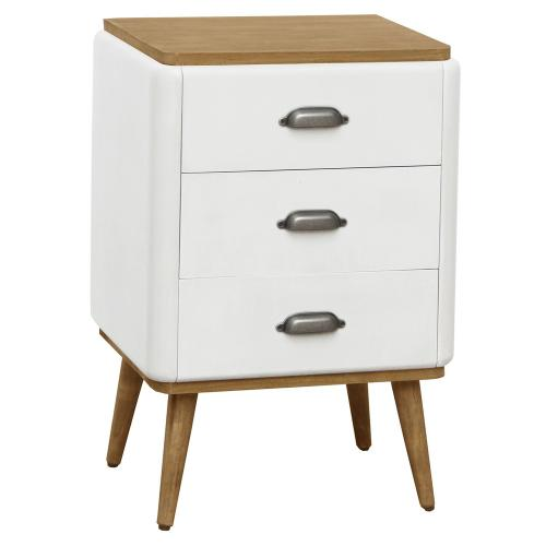 3S. x Home - Table de chevet scandinave 3 tiroirs Blanc JAKOB - Chambre adulte