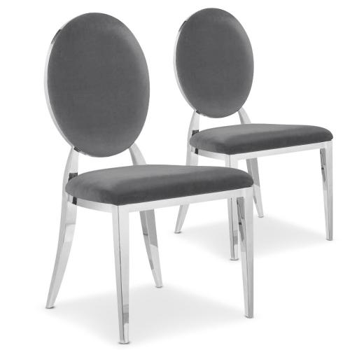 3S. x Home - Lot de 2 chaises médaillon Velours Gris SOFIA - Chaise