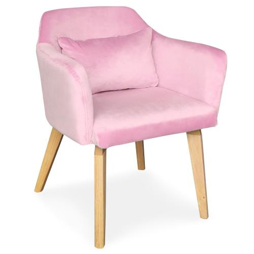 3S. x Home - Lot de 2 Fauteuils Scandinaves Velours Rose ELRIC - Fauteuil