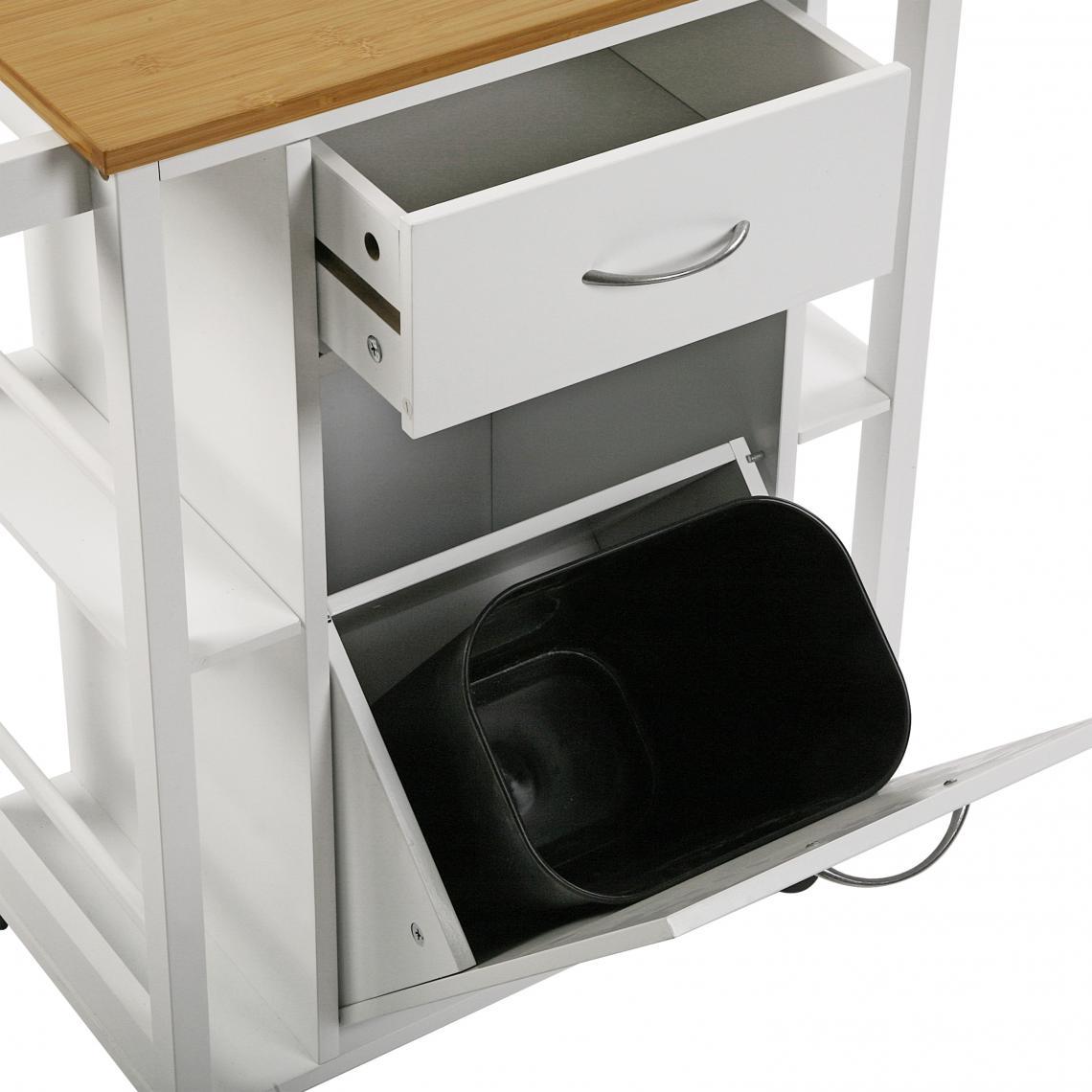 Desserte à roulettes tiroirs et poubelle TEKKI Plus de détails