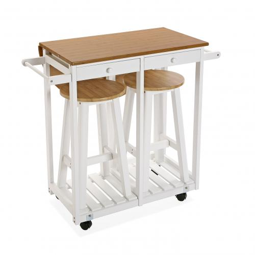 3S. x Home - Set table de Cuisine et 2 tabourets TEKKI - Table salle à manger