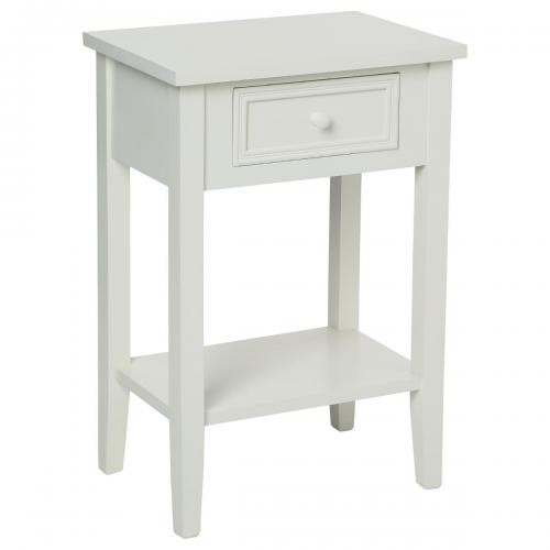 3S. x Home - Table de chevet 1 tiroir Blanc KELIA - Table de chevet