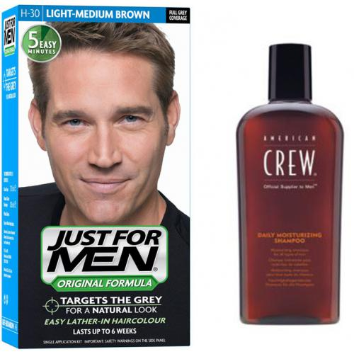 Just for Men - COLORATION CHEVEUX & SHAMPOING - Châtain Moyen Clair - Soins homme