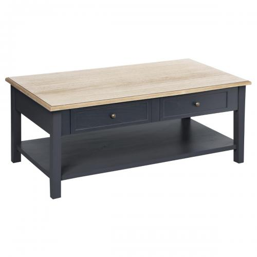 3S. x Home - Table Basse 4 Tiroirs Gris MIDA - Table basse
