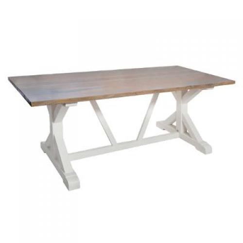 3S. x Home - Table en Bois d'Acacia Blanc RILE - Table