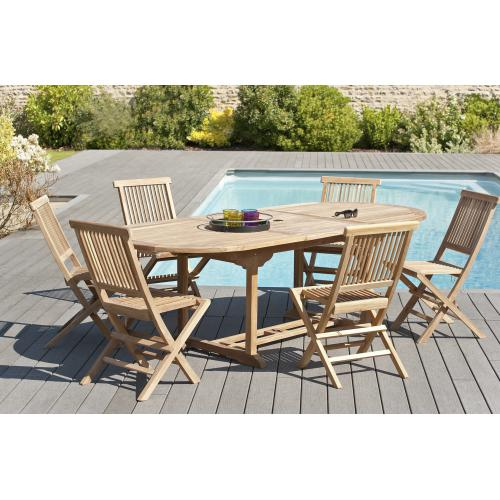 MACABANE - Ensemble Table Ovale extensible + 6 Chaises en Teck Massif - Ensemble table, chaise