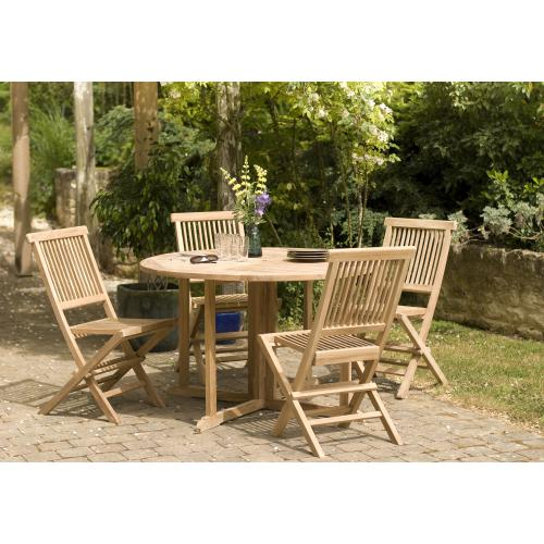 MACABANE - Ensemble Table Ronde papillon 120cm + 4 Chaises en Teck Massif - Ensemble table, chaise