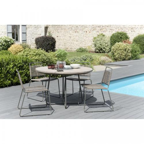 MACABANE - Ensemble Table ronde Teck teinté + 4 Chaises empilables en cordage synthétique - Ensemble table, chaise