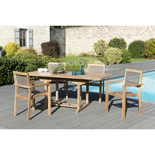 MACABANE - Ensemble Table rectangulaire extensible en Teck + 4 Fauteuils empilables Taupe textilène - Ensemble table, chaise