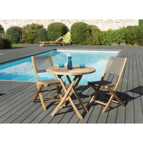 MACABANE - Ensemble Table ronde pliante en Teck + 2 Chaises pliantes Taupe en Textilène - Ensemble table, chaise