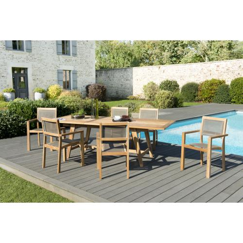 MACABANE - Ensemble Table rectangulaire extensible Scandinave en Teck + 6 Fauteuils empilables Taupe en textilène - Ensemble table, chaise