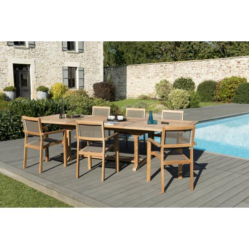 MACABANE - Ensemble Table rectangulaire extensible en Teck + 6 Fauteuils empilables Taupe en textilène - Ensemble table, chaise