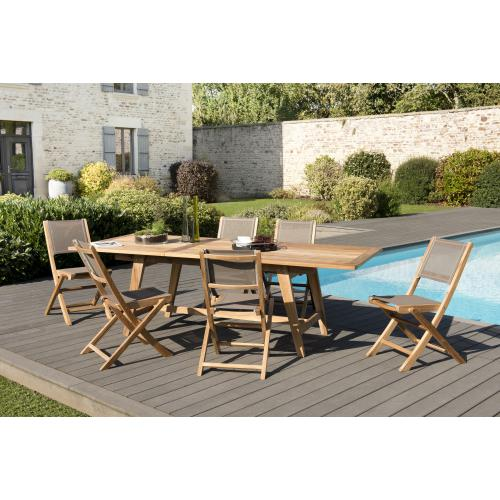 MACABANE - Ensemble Table rectangulaire extensible Scandinave en Teck + 6 Chaises pliantes Taupe en textilène - Ensemble table, chaise