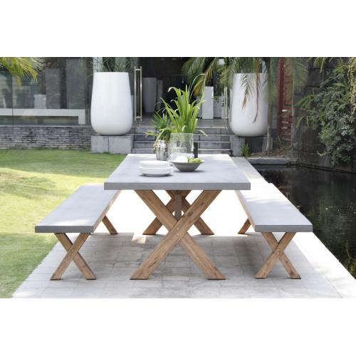 MACABANE - Ensemble Table de Jardin Table rectangulaire en fibre de Ciment et Acacia + 2 bancs - Meuble & Déco