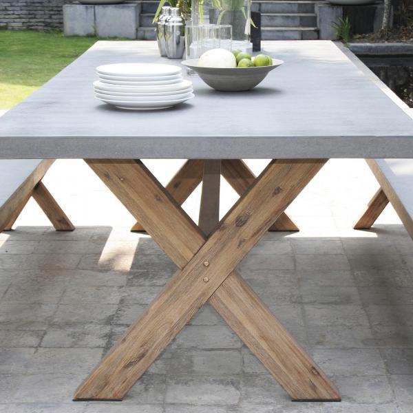 salon de jardin en fibre de beton et acacia 8 pers ensemble jardin 1 table rectangulaire 200 100 cm et 2 bancs