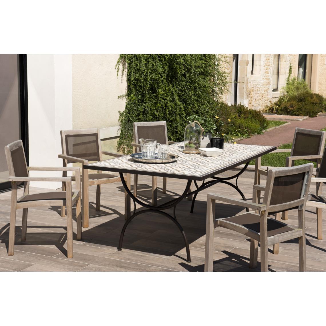 Salon De Jardin Carreau De Ciment table rectangulaire plateau carreaux de ciment 203x102cm - pieds métal plus  de détails