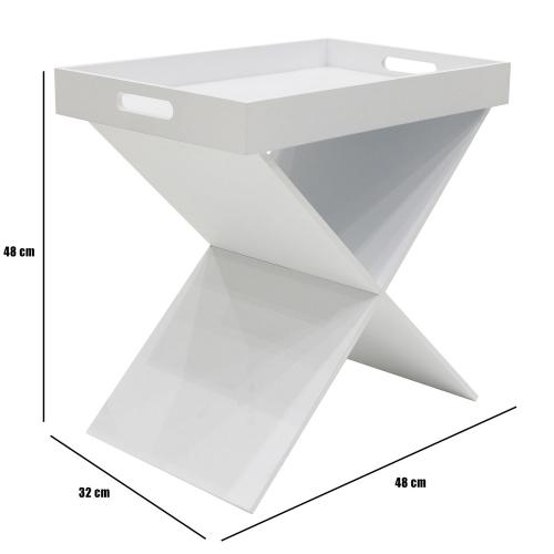 3S. x Home - Table d'appoint avec plateau amovible Blanc SILVIA - Table basse