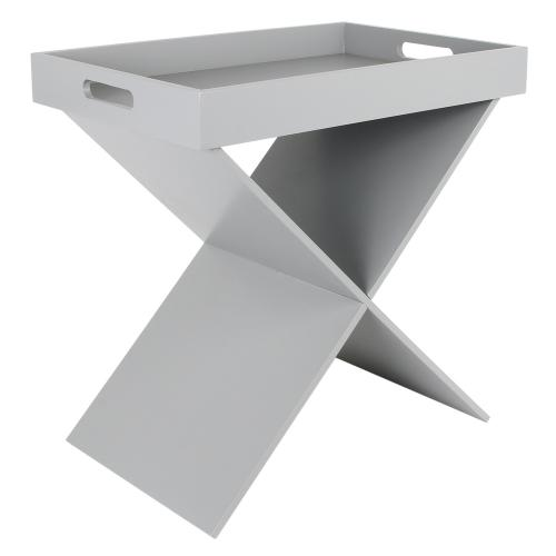 3S. x Home - Table d'appoint avec plateau amovible Gris SILVIA - Table basse