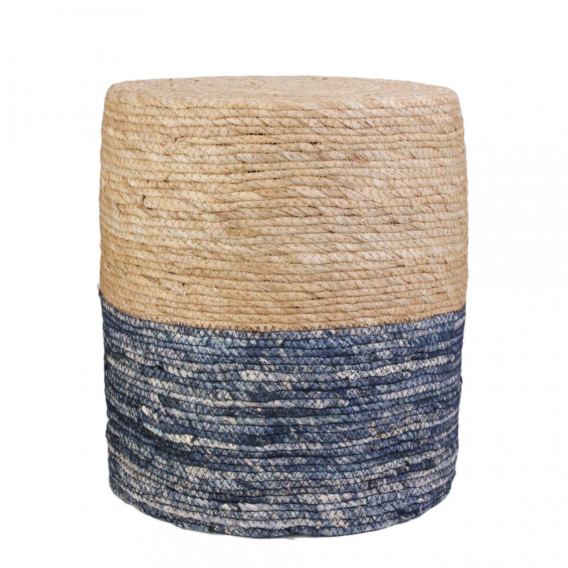 Pouf Jonc De Mer pouf bleu et bois antonio plus de détails